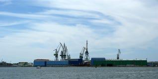 Marine cargo port. Cranes. Pula, Croatia Stock Photos