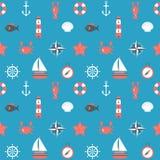 Marine cartoon seamless pattern. Nautical background. Sea theme. Vector illustration Stock Image