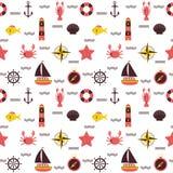 Marine cartoon seamless pattern. Sea theme. Nautical background Stock Photography