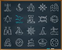 Marine chalk draw line icons vector set royalty free illustration
