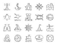 Marine charcoal draw line icons vector set vector illustration