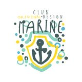 Marine club logo design, summer travel and sport hand drawn colorful vector Illustration. For stickers, banners, cards, advertisement, tags Stock Image