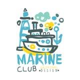 Marine club logo design, summer travel and sport hand drawn colorful vector Illustration Stock Photos
