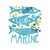 Marine club original logo design, summer travel and sport hand drawn colorful vector Illustration. Badge for yacht club, sailing sports or marine travel Stock Image