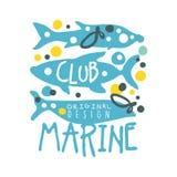 Marine club original logo design, summer travel and sport hand drawn colorful vector Illustration Stock Image