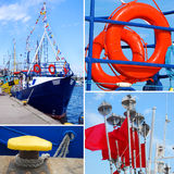 Marine collage with small tourist ship and details Stock Image