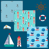Marine collection with three seamless pattern and few elements for design Stock Image