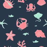 Marine color pattern with pictures in dark vector illustration