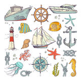 Marine coloring doodle set with different nautical elements, compass and lighthouse. Underwater animals vector set. Nautical sailboat and node of rope stock illustration