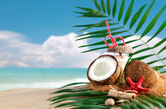 Marine composition of coconut and palm leaves on the background of beautiful sea landscape. Suitable as a card Stock Photo