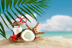Marine composition of coconut and palm leaves on the background of beautiful sea landscape. Suitable as a card Royalty Free Stock Photo