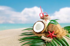 Marine composition of coconut and palm leaves on the background of beautiful sea landscape. Suitable as a card Stock Image