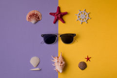 Marine composition with sunglasses Royalty Free Stock Photo