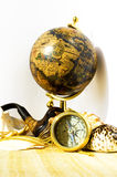 Marine concept. (Globe, compass, shells, smoking pipe stock photography