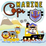 Marine cop. Animals sailing with marine cop in the beach, vector cartoon illustration. vector on EPS 10 Royalty Free Stock Photography
