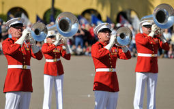 Marine Corp Marching Band. Members of the United States Marine Corps Marching Band. Image taken during a ceremony at MCRD, San Diego on March 8th, 2008 Stock Image