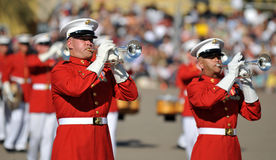 Marine Corps Band. Soldiers of the United States Marine Corps Marching Band. Image taken during a ceremony at MCRD, San Diego on March 8th, 2008 stock photography
