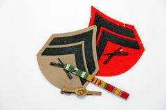 Marine Corps chevrons and medals Stock Image