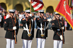 Marine Corps Color Guard. Color guard during a ceremony. Image taken during the Silent Drill Team performance at MCRD San Diego on March 8th, 2008 royalty free stock images