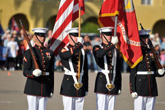 Marine Corps Color Guard. Color guard during a ceremony. Image taken during the Silent Drill Team performance at MCRD San Diego on March 8th, 2008 royalty free stock photos