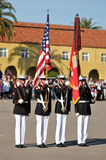 Marine Corps Color Guard. Members of the United States Marines as color guard during a ceremony. Image taken during the Silent Drill Team performance at MCRD San royalty free stock photo