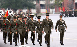 Marine Corps Drill Instructors Marching Royalty Free Stock Images