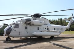 Marine Corps Helicopter Gray. United States of America Department of the Navy Marine Corps Helicopter on display at a museum Royalty Free Stock Images