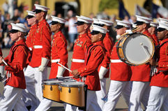 Marine Corps Marching Band. Members of the United States Marine Corps Marching Band walk in unison. Image taken during a ceremony at MCRD, San Diego on March 8th stock photography