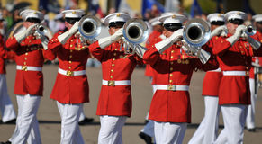 Marine Corps Marching Band. Soldiers of the United States Marine Corps Marching Band. Image taken during a ceremony at MCRD, San Diego on March 8th, 2008 Stock Photo