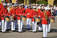 Marine Corps Marching Band. Soldiers of the United States Marine Corps Marching Band. Image taken during a ceremony at MCRD, San Diego on March 8th, 2008 Royalty Free Stock Photo