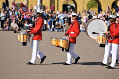 Marine Corps Marching Band. Soldiers of the United States Marine Corps Marching Band. Image taken during a ceremony at MCRD, San Diego on March 8th, 2008 stock photography