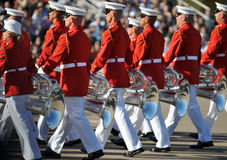 Marine Corps Marching Band. Soldiers of the United States Marine Corps Marching Band. Image taken during a ceremony at MCRD, San Diego on March 8th, 2008 royalty free stock image