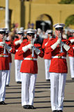 Marine Corps Marching Band. Soldiers of the United States Marine Corps Marching Band. Image taken on March 8th 2008, at MCRD, San Diego royalty free stock photography