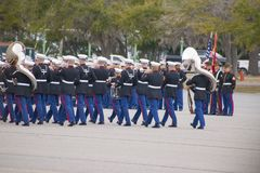 Marine Corps Marching Band bei Parris Island, Sc Lizenzfreie Stockbilder