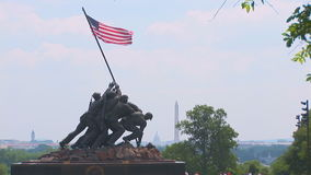 Marine Corps War Memorial dichtbij Washington, gelijkstroom stock footage