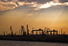 Marine cranes royalty free stock photos