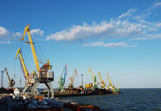 Marine cranes in the port. To the background of blue sky with clouds royalty free stock photography