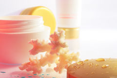 Marine cream 2. Coral and jars of cream in a rosy light Stock Photos