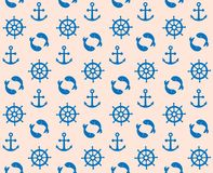 Marine cute pattern with fish anchor and handwheel seamless. Blue navy Royalty Free Stock Images