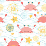 Marine cute seamless pattern with colorful doodle crabs, sea stars. Seashells, hearts on the blue sea waves background made on cartoon style. Summer decorative Royalty Free Stock Image