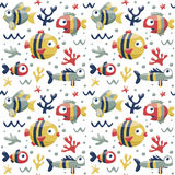 Marine cute seamless pattern with fishes, algae, starfish, coral, seabed, bubble Royalty Free Stock Photos