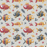 Marine cute seamless pattern with fishes, algae, starfish, coral, seabed Royalty Free Stock Photos