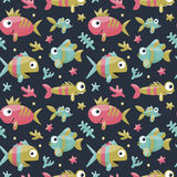 Marine cute seamless pattern with fishes, algae, starfish, coral, seabed, bubble. For kids Stock Images