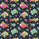 Marine cute seamless pattern with fishes, algae, starfish, coral, seabed, bubble for kids. Starfish, illustration, decorative design Stock Images