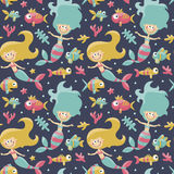 Marine cute seamless pattern with mermaids, fishes, algae, starfish, coral, seabed, bubble. Graphic, decor aquarium shape object funny collection Royalty Free Stock Photography