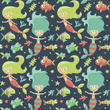 Marine cute seamless pattern with mermaids, fishes, algae, starfish, coral, seabed, bubble. Graphic, decor aquarium shape object funny collection Royalty Free Stock Images
