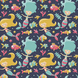 Marine cute seamless pattern with mermaids, fishes, algae, starfish, coral, seabed, bubble Stock Photography