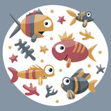 Marine cute set with fishes, algae, starfish, coral, seabed, bubble for kids. Undersea Royalty Free Stock Image
