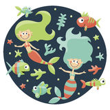 Marine cute set with mermaids, fishes, algae, starfish, coral, seabed, bubble Stock Image