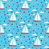 Marine cute vector seamless pattern with sailboat, stars, clouds, anchor, lifebuoy royalty free illustration